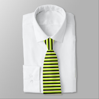 Pale Yellow, Lime Green and Black Stripes Tie