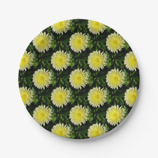 Pale Yellow Mary Bud Marigold Paper Plate