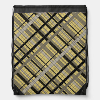 Pale Yellow Nuetral Plaid Drawstring Backpack