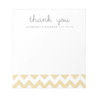 Pale Yellow Orange Green Chevron Thank You Notepad
