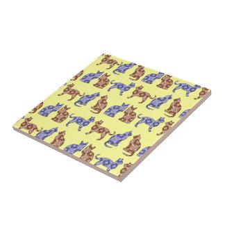 Pale Yellow Paisley Cats Pattern Ceramic Trivet Small Square Tile