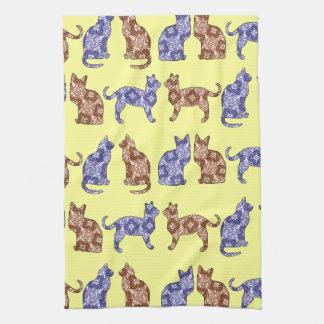 Pale Yellow Paisley Cats Pattern Dish Towel