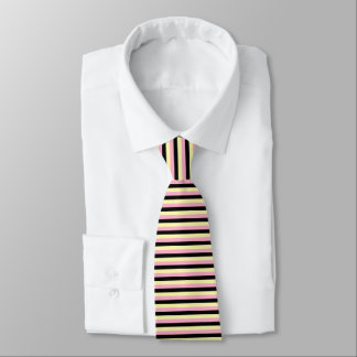 Pale Yellow, Pink and Black Stripes Tie
