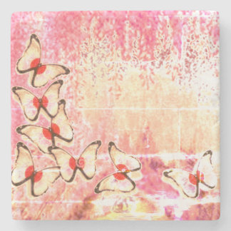 Pale Yellow Weeping Butterfly Tree Stone Coaster
