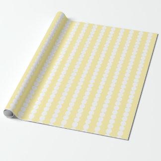 Pale Yellow White Polka Stripes Wrapping Paper