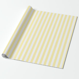 Pale Yellow White Stripes Wrapping Paper