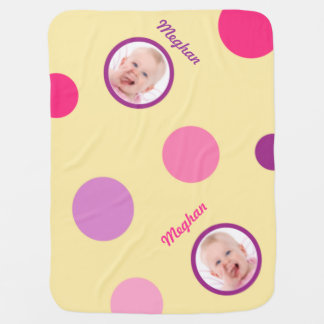 Pale Yellow with Pink and Purple Polka Dots Photo Pramblankets
