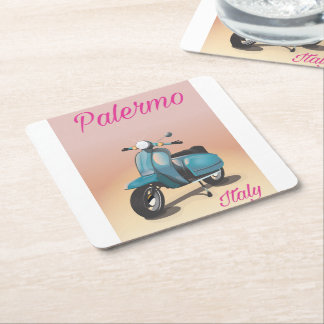 Palermo Italy Scooter poster Square Paper Coaster
