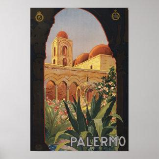Palermo Italy Vintage Doorway Art Poster Print