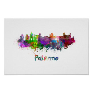 Palermo skyline in watercolor poster