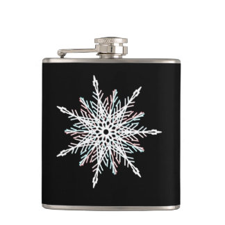 Palest white, red and green star kaleidoscope hip flask