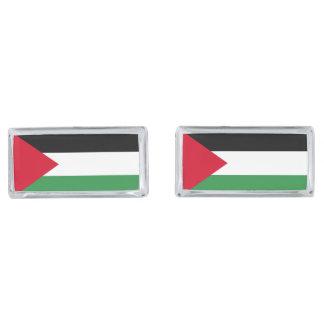 Palestine Flag Silver Finish Cufflinks