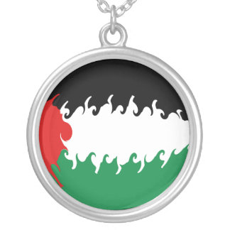 Palestine Gnarly Flag Round Pendant Necklace