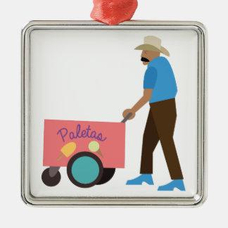 Paletas Ice Cream Silver-Colored Square Decoration