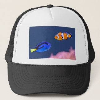 Palette surgeonfish and clown fish swimming trucker hat