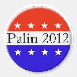 Palin 2012 red white and blue button round sticker