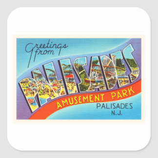Palisades New Jersey NJ Vintage Travel Postcard- Square Sticker