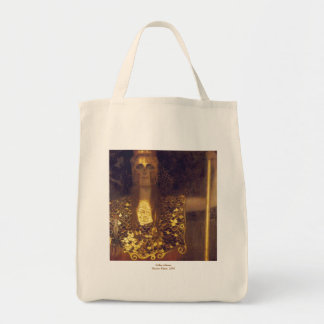 Pallas Athene by Gustav Klimt Grocery Tote Bag