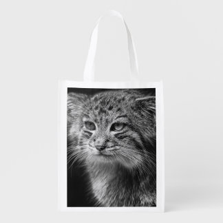 Pallas's cat portrait reusable grocery bag