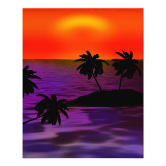 palm-618756 TROPICAL EVENING PALM TREES RED PURPLE Flyer