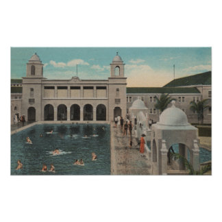 Palm Beach, FL - Outdoor View of Pool & Casino Poster