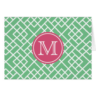 Palm Beach Green & Pink Geometric Bamboo Monogram Card