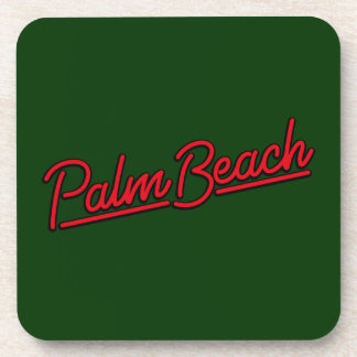 Palm Beach in red Beverage Coaster