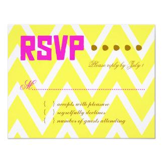 PALM BEACH RSVP Yellow Chevron Linen Paper Card