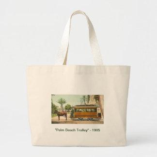 """Palm Beach Trolley"" - 1905 Large Tote Bag"