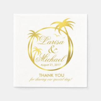 Palm Beach Tropical Logo | faux gold foil Disposable Serviette