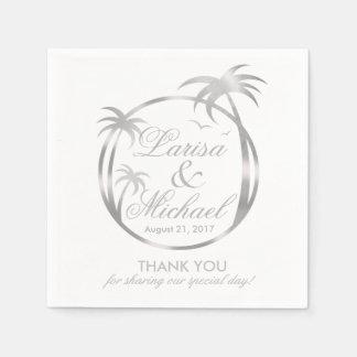 Palm Beach Tropical Logo | faux silver foil Disposable Serviette