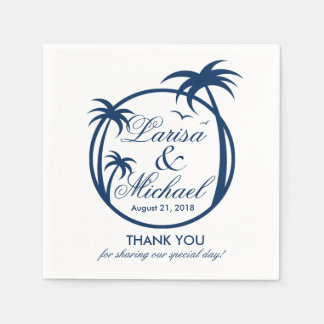 Palm Beach Tropical Logo | navy blue Paper Serviettes