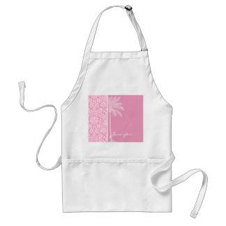 Palm; Carnation Pink Damask Pattern Adult Apron