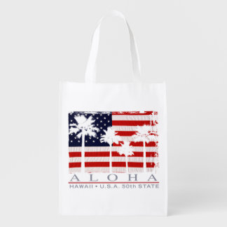 Palm Flag Hawaii Aloha Patriotic Grocery Bag