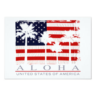 Palm Flag USA Aloha Party Invitations