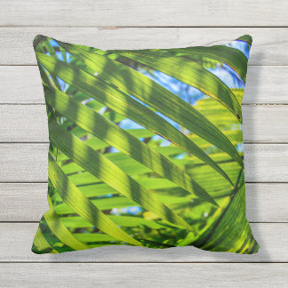 Palm Fronds Hawaiian Tropical Reversible Outdoor Throw Pillow