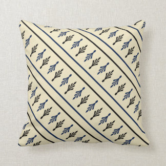 Palm Fronds Patterns name1 black blue ecru Cushion