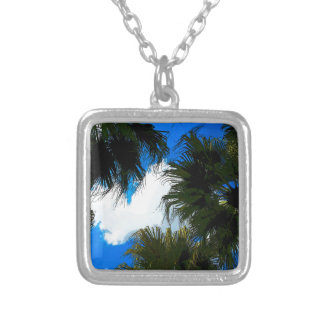 Palm Fronds Silver Plated Necklace