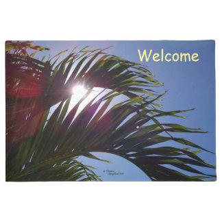 Palm fronds Sun shining Spiegeland Doormat