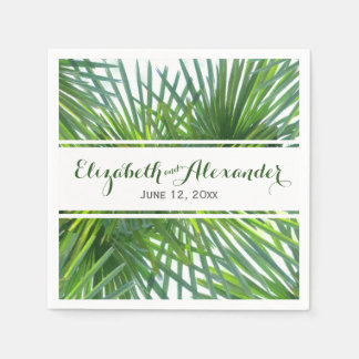 Palm Greenery Names and Date Wedding Napkin Disposable Napkin