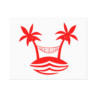 palm hammock beach smile red.png stretched canvas prints