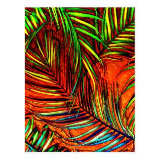 Palm Leaf Art Jungle Fire Edit Postcard