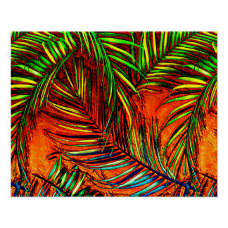 Palm Leaf Art Jungle Fire Edit Poster