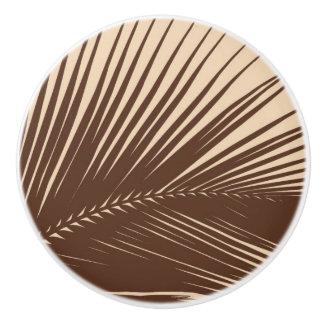 Palm leaf - Dark brown and tan Ceramic Knob