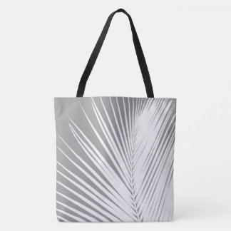 Palm leaf - grey / gray and white tote bag
