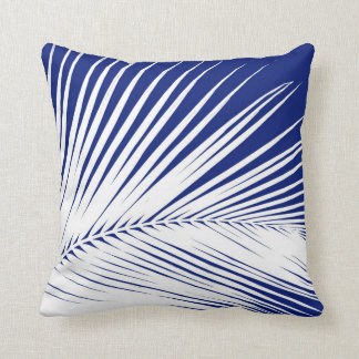 Palm leaf - navy blue and white cushion