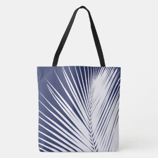 Palm leaf - navy blue and white tote bag
