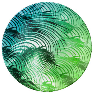 Palm Leaf Patterns Tropical Green Palm Leaves Cool Plate