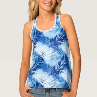 Palm Leaf Print, Cobalt, White and Sky Blue Singlet