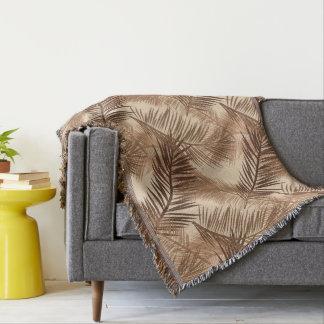 Palm Leaf Print, Dark Brown, Tan and Beige